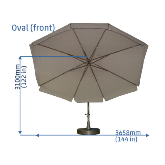 9'x12' Oval Easy Sun Parasol